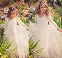 Wholesale first communion dress floor length resale online - Bohemian Wedding Party Lace Flower Girl Dress Long Sleeve Floor Length Boho Kids First Communion Gowns Birthday Customize