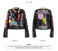 kızlar deri motosiklet ceketleri toptan satış-Moda-bayan bayanlar kızlar punk rock hip-hop Graffiti rozetleri nakış perçin baskı kısa motosiklet lokomotif deri ceketler
