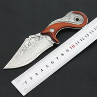 Wholesale Damascus steel loach knife small straight knife outdoor pattern steel knife