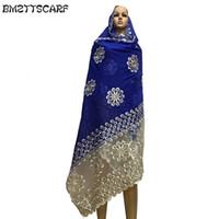 сетчатые шарфы оптовых-Новые африканские женщины шарфы мусульманские женщины большой вышивка хлопковый шарф хлопок матч чистая вышивка шарф с камнями BM591