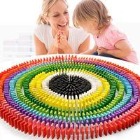 ingrosso costruzione domino-Colore Domino Giocattoli di legno Blocchi di costruzione Regalo per bambini 100 pezzi per set Pittura Intelligenza educativa 3 8hc F1
