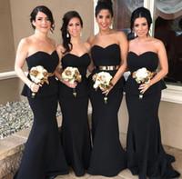 siyah elbiseler uzun tatlım nedime toptan satış-Siyah Peplum Mermaid Uzun Gelinlik Modelleri Onur Hizmetçi Elbiseler Moda Sevgiliye Abiye Balo elbise Düğün Için F1989
