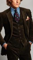 коричневые вельветовые костюмы мужские оптовых-Latest Coat Pant Designs Brown Velvet Men Suit Corduroy Formal Slim Fit Business Tuxedo Prom Style Blazer Tailor 3 Piece Terno
