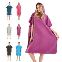 Wholesale robes blankets online - Solid Beach Bathrobe Coat Beach Towel Robes Unisex Hooded bathrobes Blanket Outdoor Cloak Cape Easy for Changing Clothes GGA2034
