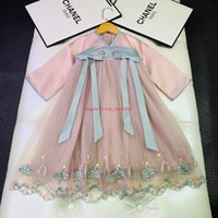 ingrosso abiti ricamati di denim-abbigliamento ricamato abito bambini designer Ragazze autunno ricamo abito stile cinese ornamenti arco