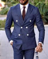 yeni tasarım erkek blazer toptan satış-Yeni Son Tasarım Şerit Erkekler Düğün Moda Balo Masculino Damat Trajes De Hombre Blazer 2 Adet Suits (ceket + Pantolon + Kravat)