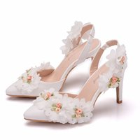 ingrosso adulti scarpe fiori-Crystal Queen Elegant Shoes Adulti Sandali Scarpe da sposa da sposa scarpe a punta con tacco alto 10CM con tacco alto e fiore