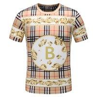 col parfait achat en gros de-L'impression de haute qualité dans le monde de l'habillement en Europe et aux États-Unis est parfaite pour le nouveau t-shirt à encolure ronde pour hommes de la mode