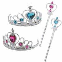 magische haarbänder großhandel-Snow Queen 2 II Tiara-Krone und Wand Set-Mädchen-Kind-Abendkleid-Prinzessin Jewel Hair Bands Magic Stick Cosplay Zubehör A110702