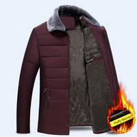 mens samt kragen jacken großhandel-Fashion Men Cotton Velvet Thick Kunstpelzkragen Fleecejacke Parka Weinrot Herren Winter-Parkas Fluffy Warm Jungen Mantel Plus Size