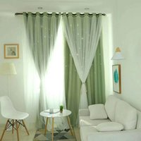 Wholesale room window curtains resale online - High precision Thickening Curtains Double Layer Solid Color Luxury Hollow Stars French Window Curtain Blackout Curtains Screens