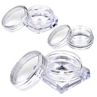 gesichtscreme proben großhandel-10 Stücke Transparente Kleine Flasche 2g / 2,5g Kosmetische Leere Glas Pot Lidschatten Lip Gesichtscreme Probenbehälter