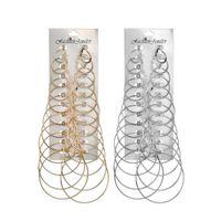 18k reine gold-sets großhandel-12 Stücke Mode Frauen 925 Silber Alloy Big Hoop Ohrring Set Trendy Geometrische Reine Farbe Ohrringe Damenmode-accessoires
