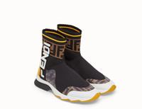 ingrosso uomini del panno-[Con scatola] 2019 designer di lusso degli uomini di marca sneakers mocassini moda FF uomo donna high-top elastico panno casual sport calzino scarpe 35-45