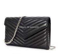 Wholesale blue leather messenger bags resale online - Genuine Leather Bag women shoulder messenger bag caviar lambskin real leather