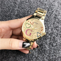 Wholesale big bang watch bands resale online - Fashion GUE SS Brand women s men Girl crystal dial Stainless steel metal band quartz wrist watch PANDORA Bracelet dz Watch big bang rr