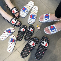 Wholesale Women Men Letter Sandal Summer Unisex Slippers Slip on Flip Flops Wedge Platform Sandals Beach Water Rain Mules Shoes