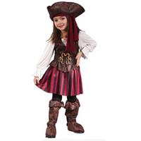 trajes de jack al por mayor-nuevo traje de Halloween cosplay del vestido del año por niño sombrero traje de los niños niñas capitán pirata Jack Sparrow