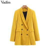 ofis giyim topları toptan satış-Vadim kadınlar chic sarı blazer cepler kruvaze uzun kollu ofis giyim ceket katı kadın casual giyim CA365 Ücretsiz Nakliye tops