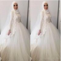 ingrosso abito da sposa moderno di hijab-2019 moderno musulmano hijab ball gown abiti da sposa collo alto pizzo appliques perline abiti dubai arabo pizzo da sposa abiti da sposa