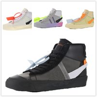 Wholesale off white flat laces for sale - Group buy OW designer off black white men and women casual running shoes the best shoes Blazer size