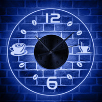 diseños de cocina de pared de café al por mayor-Café Diseño vintage Reloj de pared iluminado Grano de café Iluminación LED Negocio Letrero de neón Café Cocina Arte de la pared Decoración de la barra