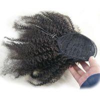 remy rizado extensiones de cola de caballo al por mayor-Ali Magic Drawsting Ponytails Extensions Mongolian Afro Kinky Rizado 4B 4C Clip En Extensiones de cabello humano Cola de caballo Pelo Remy