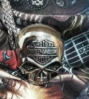 biker halsketten großhandel-HIP HOP JEWELRY BIG HEAVY harley accessories Biker-Schädel Edelstahlanhänger für Herrenhalsketten