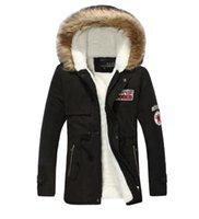 siyah yaka yaka ceketi erkek toptan satış-Kış Erkek Sıcak Parka Kürk Yaka Kapşonlu Siyah Kalın Ördek Aşağı Ceket Dış Giyim Aşağı Ceket Rahat Sıcak Adam Ceket Moda Ceket Adam