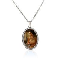 formas de pingente em branco venda por atacado-Sublimação em branco colares pingentes com broca de moda elipse oval-shaped mulheres colar de pingente de jóias nova chegada