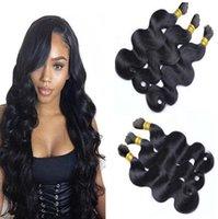 Wholesale peruvian body wave braiding hair resale online - Braiding Hair Wavy Black Braiding Hair Bulk for braids A Grade Brazilian Body Wave Hair Bulk