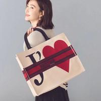 ingrosso borse bianche di tote della spiaggia-TS valen's day tote hand bag da donna firmata da donna di alta qualità di lusso vendita calda casual bianco rosso borsa da spiaggia TSYSBB138