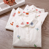 девушки с длинными рукавами белые блузки оптовых-Girls Blouses Long Sleeve White Blouse Autumn 2020 Kids Clothes Girls 8 To 12 Cartoon  Embroidery Tops Cotton School Shirts