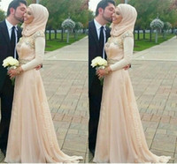 Wholesale formal long dress hijab resale online - Spring Wedding Dresses Hijab Islamic Muslim Women Formal Event High Neck Wed Gowns A Line Custom Made Vintage Long Sleeve Wedding Dress