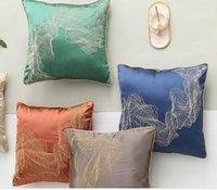 ingrosso cinesi cuscini di seta ricamati-Federa di lusso elegante Nuovo cinese Hgh precisione geometrica astratta raso di seta mogano sedie Divano cuscini ricamati cuscini