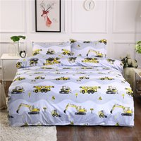 Wholesale Yellow Excavator Bedding Set Cartoon Traffic Series Duvet Cover with Pillowcases Bed Cover Single Double Queen King Size Bedlinen