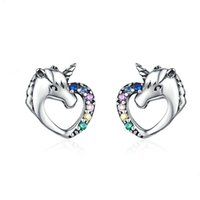 Wholesale colorful studs for ears resale online - S925 Real Silver Ear Stud Unicorn Style Sterling Silver Earrings Fashionable Colorful Zircon Ear Accessories For Woman