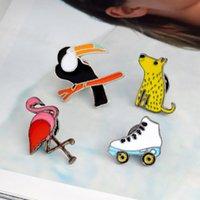 mouse pins venda por atacado-Animal Rato Flamingo Papagaio Broche Pins Lapela Pinos Emblema Jóias Da Moda para As Mulheres Homens Crianças Presente de Natal