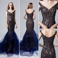 Wholesale sequined cocktail homecoming special occasion dresses for sale - Vintage Navy blue Luxury sequined Mermaid Evening Dresses Wear yousef aljasmi V Neck Cap Sleeve backless ruffles arabic Prom Formal Gowns