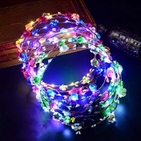 Wholesale wreath garland sale resale online - Hot Sale Party Glowing Wreath Halloween Crown Flower Headband Women Girls LED Light Up Hair Wreath Hairband Garlands Gift