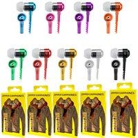 écouteur de la boîte à glissière en métal achat en gros de-Écouteurs écouteurs en métal 3,5mm Universal Jack Fermeture à glissière intérieure casque pour téléphone intelligent avec boîte de détail