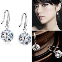 elmas saplı kanca toptan satış-Moda Takı Kristal Rhinestone Şık Gümüş Kaplama Kulak Kanca Kadınlar için Dangle Küpe