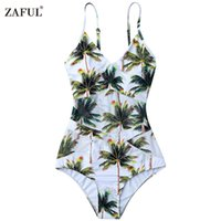 ingrosso cinghia da bagno-ZAFUL One Piece Bikini Swimwear Women Plant Elastico Spaghetti Strap Coco Palm Tree Costume da bagno Costumi da bagno Taglia S / M / L / XL (Bianco)