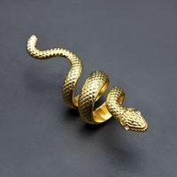 legierungsschmucksachequalität großhandel-Mens Hip Hop Schmuck Gold Ringe Hohe Qualität Punk übertrieben Snake Alloy Gold Ringe für Männer