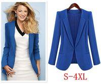 костюм блейзер мод женщины оптовых-Женщины Плюс Размер XL 2XL 3XL 4XL женщин вскользь пальто женщина костюмы Blaser Feminino 2018 года Черный Синий Hidden Брестеда