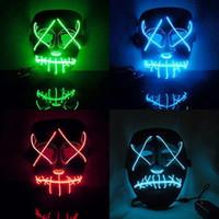 ingrosso rifornimenti del partito scuro-Halloween Costume LED Mask The Purge Movie El Wire DJ Party Festival Nuove maschere Cosplay Forniture Glow In Dark Skull Maschere