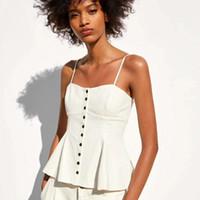 arkalıksız yaz gömlekleri toptan satış-2019 Dropshop kadın Parti Üst Gömlek Moda Kadınlar için Backless Yaz Yelek Beyaz Yelek XS-L Z08