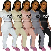Wholesale pink icing clothing resale online - PINK Women Sets T shirts Leggings Jogger Suits Crop Tops Tights Outfits Short Sleeve Tracksuit Plus Size S XL Summer Clothing