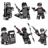 Wholesale military toys for boys resale online - 6pcs MOC SWAT Mini Action Figure with Weapons Military Special Forces Tactics Assault Policeman Building Blocks Brick Toy For Kid Boy