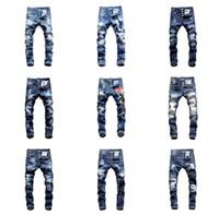 xs man top à carreaux achat en gros de-2019 Top Qualité Marque dsquared2 mens designer dsquared2 jeans d2 jeans Hommes Denim noir dsq Jeans Pantalon de broderie Mode Trous Pantalons Italie Taille 44-54